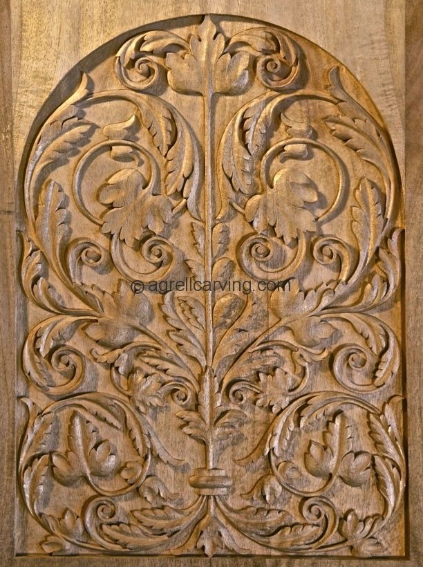 Wood carved door panel late german renaissance hand