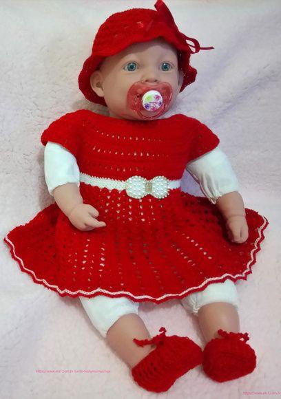Compre Vestido crochê para Bebê - Conj. 3 PÇS no Elo7 por R  130 3d3666e03ba85