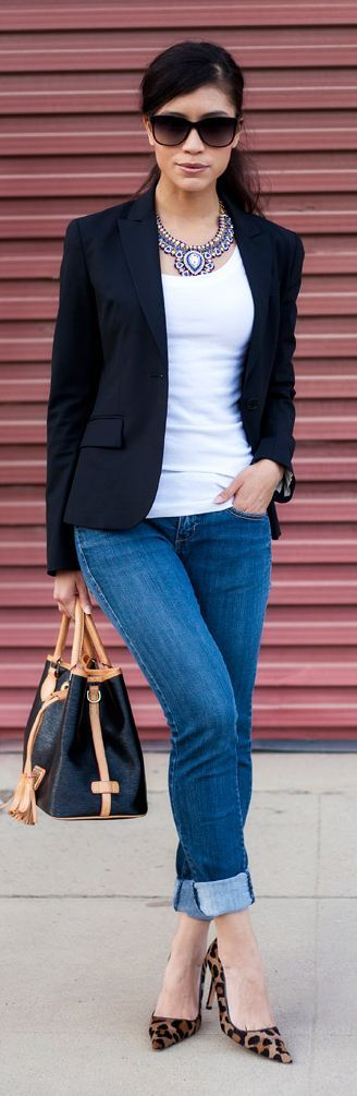 Love the simplicity of this outfit. Black blazer, white tee and jeans. Add a great necklace and animal print shoes.
