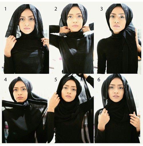 Simple Loose Black Hijab Tutorial