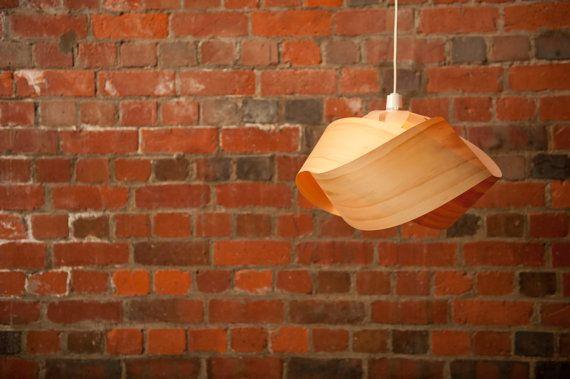 Wood veneer pendant light shade - Twist