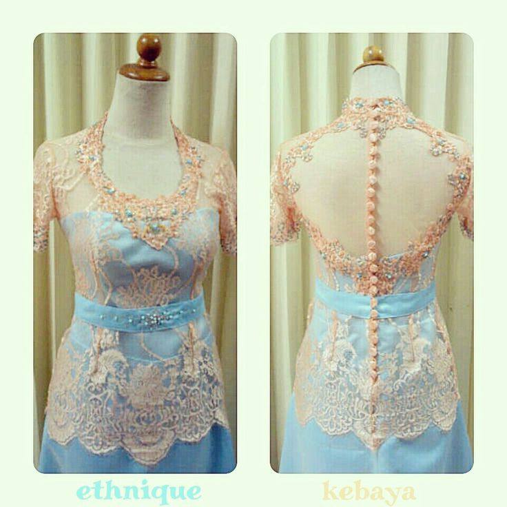 Kebaya dress tangan pendek peach n baby blue.