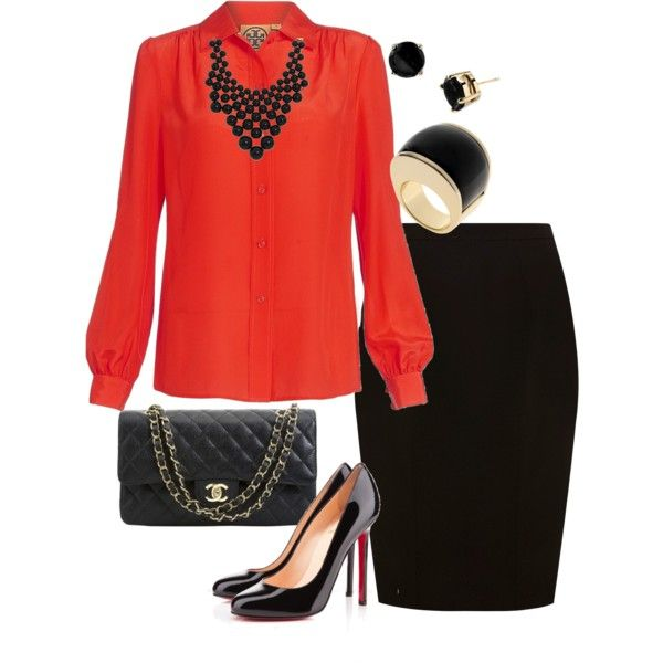 :)Flow Fashion, Fashion Ideas, Fab Fashion, Offices Attire, Business Attire, Offices Outfit, Black Skirts, Business Casual, Red Blouses