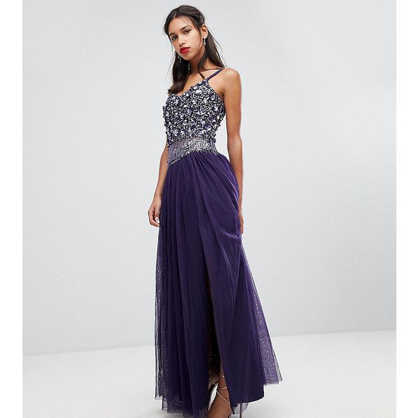 Lace & Beads Embellished Tulle Maxi Skirt ($74) ❤ liked on Polyvore featuring skirts, purple, lace skirt, long purple skirt, purple skirt, long purple tulle skirt and sparkle skirts