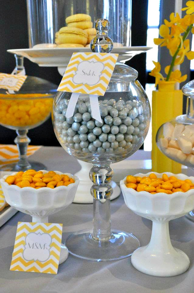 Bridal Shower Decor Package. Yellow & Gray Chevron Printable Baby Shower Decorations.