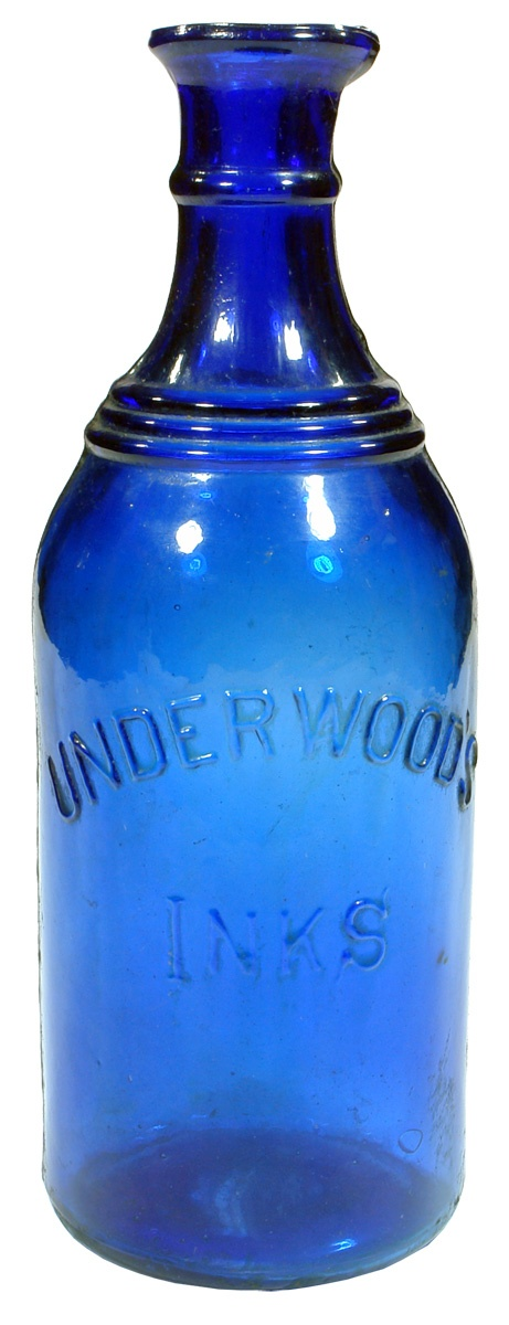 Bulk size Underwood's Inks cobalt blue glass bottle. c1900s