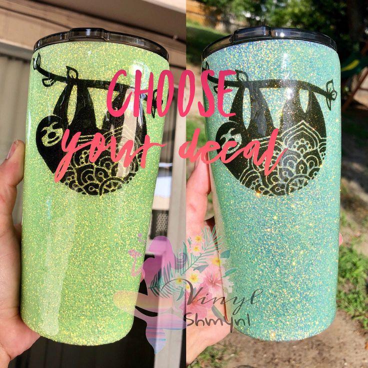 Green To Blue Uv Solar Sun Changing Glitter Dipped Tumbler