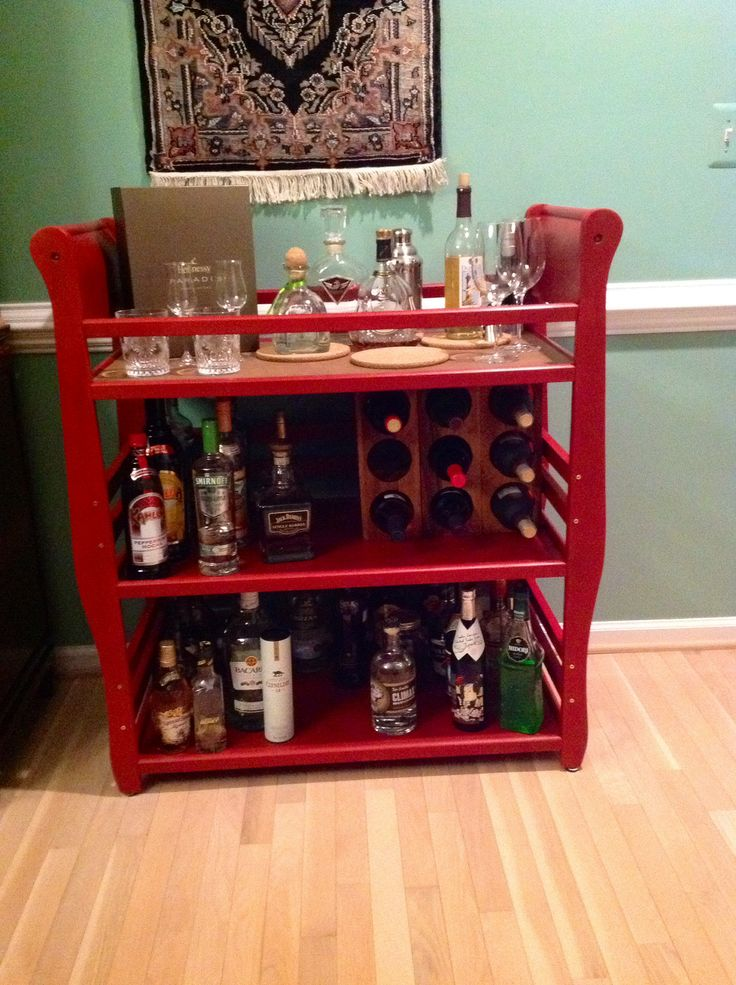 Bar cart made from baby changing table
