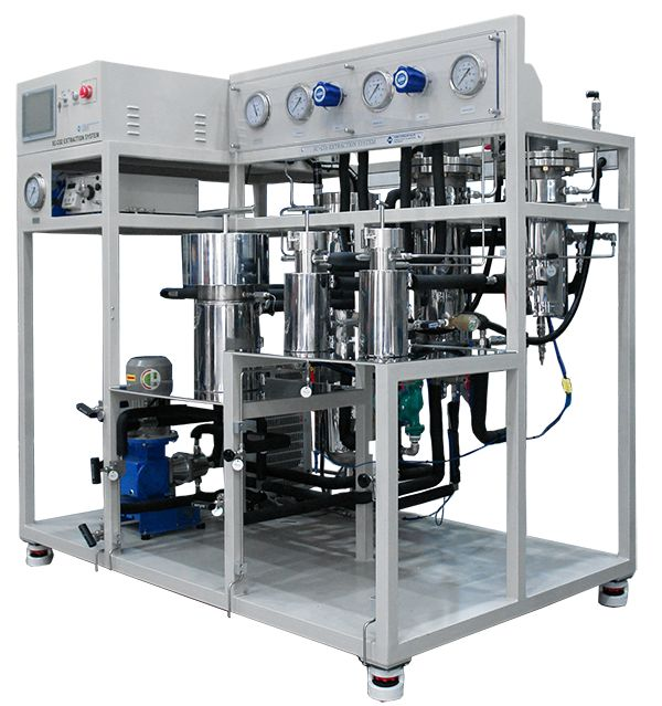 Supercritical CO₂system is a fluid state of carbon dioxide where it is above its critical temperature(31.1 degree C) and critical pressure(73.8 bar). It has application to extraction, making nano-particle, de-binding, Foamed macromolecule, drying, cleaning, synthesis, plating, dyeing, painting and variable industry environmentally . http://www.suflux.com/EN/products/Supercritical_Fluid_System.html
