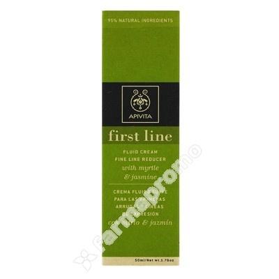 APIVITA FIRST LINE FLUIDO SUAVE 50 ML    La crema de textura suave Firts Line reduce las primeras arrugas y se anticipa a la aparición de nuevas gracias al mirto y al pino silvestre. Los polifenoles de oliva y la fumaria tienen fuerte acción antioxidante y protegen la piel contra las agresiones del medio ambiente. .Enriquecida con aceite esencial de jamín proporciona tonificación y bienestar.   http://www.farmapromo.com/primeras-arrugas/21085-apivita-first-line-fluido-suave.html