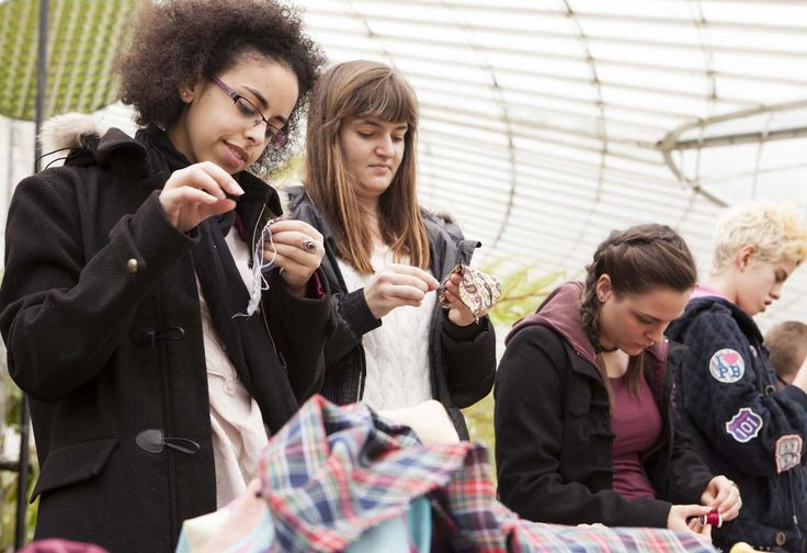 Visitors getting their stitch on at the Glasgow Botanic's CraftBomb in 2013