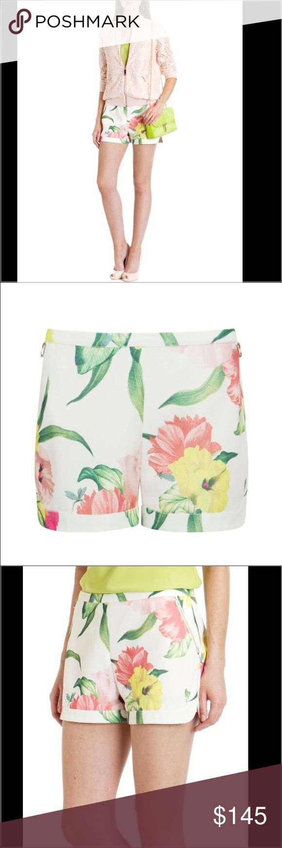 Ted Baker Floral Shorts Ted Baker Floral Shorts.  New with tags.  Perfect shorts for Spring and Summer.  Lined inside.  Side pockets with metallic zip fastening in the back. Ted Baker London Shorts