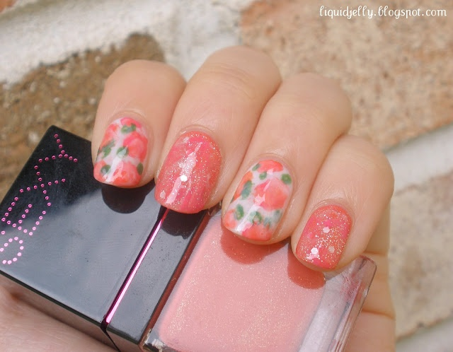 Faded Florals. Love this.: Pretty Polish, Nails Inspiration, Liquid Jelly, Nails Art, Without Colors, Faded Floral, Nails Polish, Secret Nails, Things Beautiful