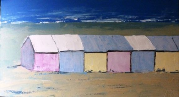 TABLEAU PEINTURE Berck plage cabines de plage pastel mer Marine Acrylique  - cabines de plage