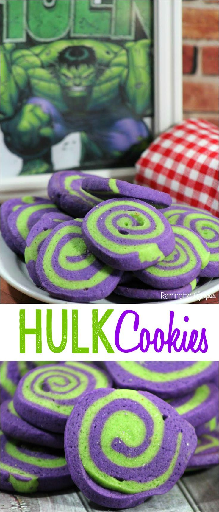 Hulk Pinwheel Cookies