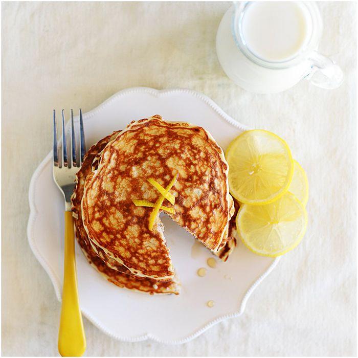 Lemon Chia Seeds Protein Pancakes | 290 calories per serving by Fit, fun & delish! #Protein #Pancakes