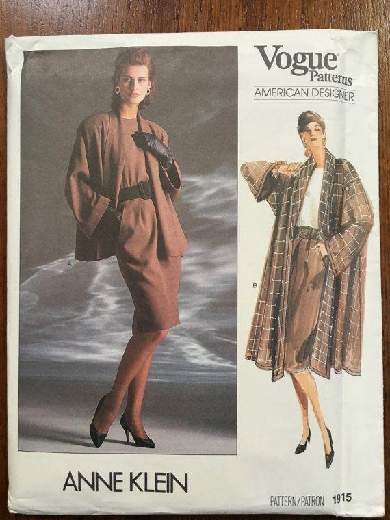 1980s Vogue 1915 American Designer Pattern Anne Klein Misses' Jacket, Coat, Skirt Top Size 8 10 12 UNCUT 1980s shoulder pads, power dressing,  Etsy weseatree patterns 1980s