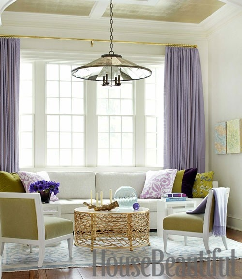 gold curtain rod with lavender curtains! heaven!