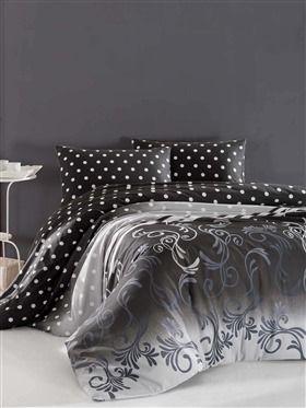 Sötétszürke Pöttyös kétszemélyes steppelt ágytakaró szett