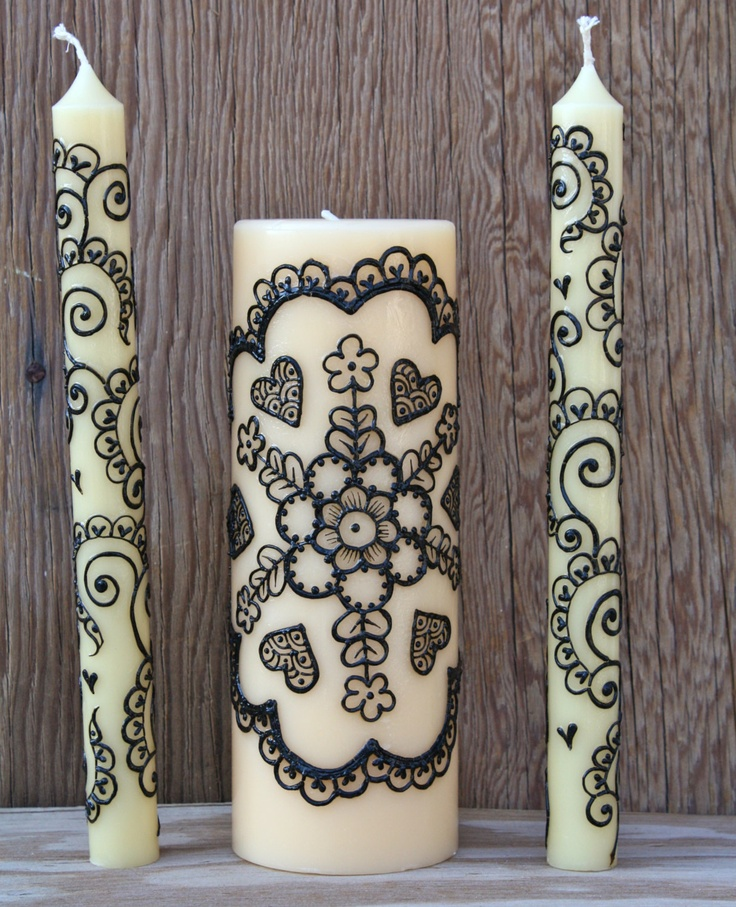 Henna Unity Candle Set for Weddings. $65.00, via Etsy.