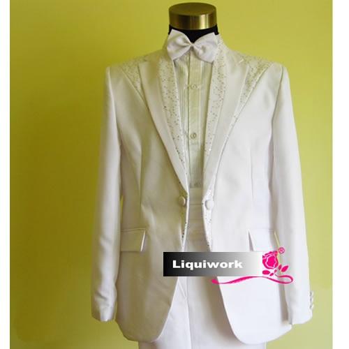 Fancy White Sequin Slim Fit Wedding Prom Dress Suit Tuxedo Store Men SKU-123086