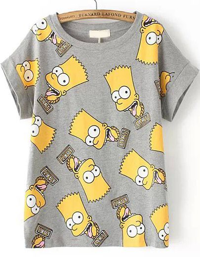 Camiseta Simpson manga corta-gris 13.96