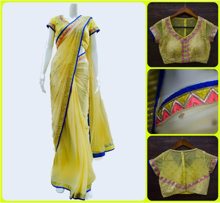 Get yourself a gorgeous yellow saree with a sheer back blouse and a neon border by Kanika Kedia <3