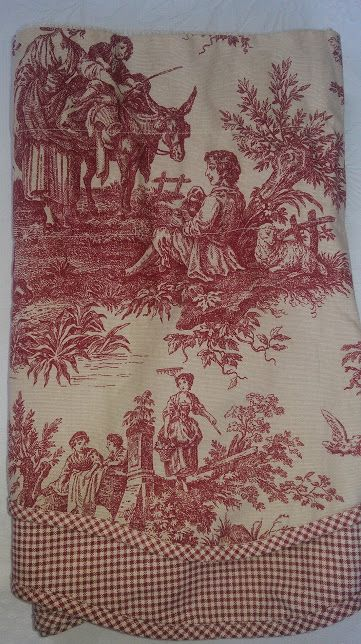 "Waverly Valance Cream/red French Toile 74"" x 17"""