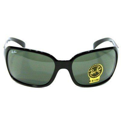 New Ray Ban RB4068 601 Glossy Black Frame/Crystal Green Lens 60mm Sunglasses by Ray