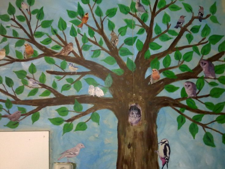wallpainting: tree with birds