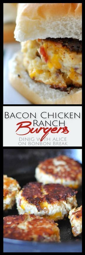 This Bacon Chicken Ranch Burgers recipe starts with ground chicken and is combined with smoky bacon, shredded cheddar cheese and ranch seasoning. http://www.bonbonbreak.com/bacon-chicken-ranch-burgers/#.V0212GN2TjI
