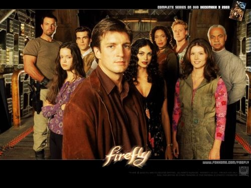Firefly: Joss Whedon's sci-fi western featuring a group of Independents who travel from planet to planet in a spaceship named Serenity while tring to stay away from the overruling Alliance. The crew unknowingly takes on a couple of passengers that the Alliance is looking for. The series lasted only 11 (run out of order) episodes but has since acquired a still-growing fanbase.