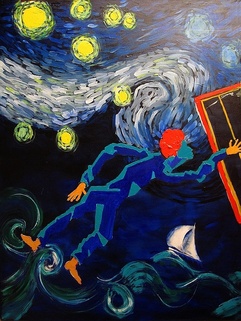Brett Whiteley departs Thirroul by Harry Kent (Panel #1 of the triptych 'Brett Whiteley's starry night').