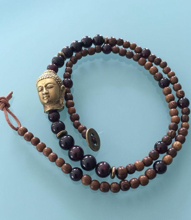 Buddha Wrap bracelet with Red Garnet by Whispered Secrets