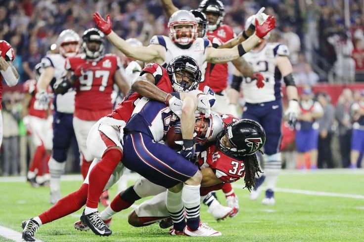 Bringing in two:   Patriots receiver Danny Amendola scores a two‐point conversion against Jalen Collins ﴾32﴿ of the Falcons late in the fourth quarter of Super Bowl 51.
