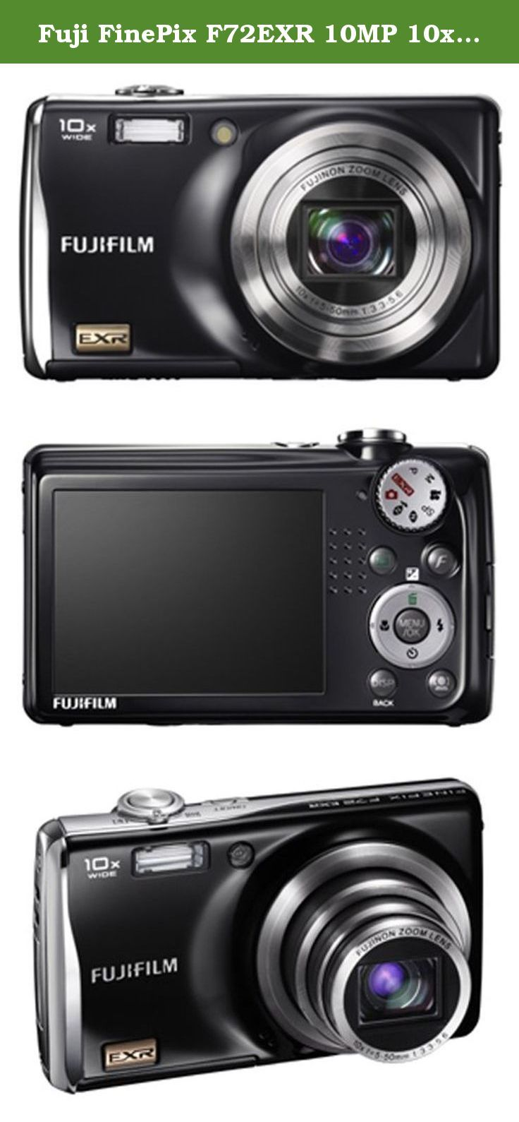 Fuji FinePix F72EXR 10MP 10x Optical/4x Digital Zoom HD Camera (Black). With a compact, stylish design and a stellar 10-megapixel lens, the Fuji FinePix F72EXR Digital Camera is an ideal camera for your busy social life. This black model sports a sleek and curvy design that's surprising small for a camera with 10x optical zoom. There's a large 2.7-inch LCD display to frame your shots, which also features a Micro Thumbnail view that allows you to view up to 100 images at once in a 10 x 10...