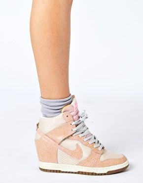 "Enlarge Nike Dunk Sky High Top Pink Wedge Sneakers...I usually don't like the ""secret"" wedge look, but I like these"