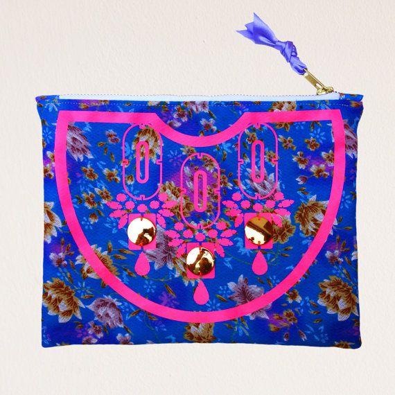 Floral patterned, embellished CLUTCH PURSE by dAKOTArAEdUST