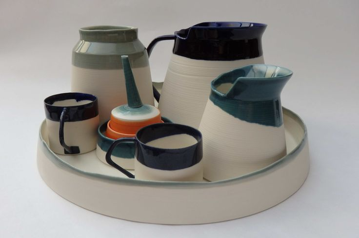 assemblage porcelain, abstract tea set, handmade