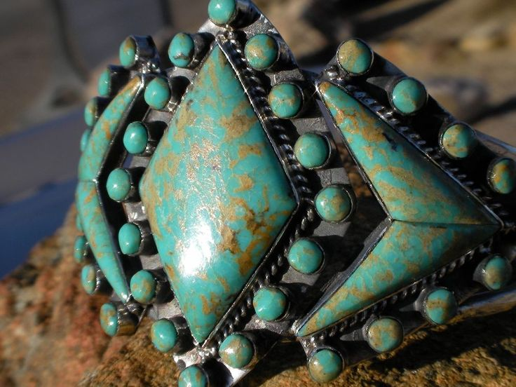 Native American / Indian Jewelry. Sterling Silver Cuff Bracelet. Many Turquoise stones in Diamond and Circle patterns. Native American Jewelry appreciate in value over time. Natural / stabilized Turquoise (Arizona's State Gemstones). | eBay!