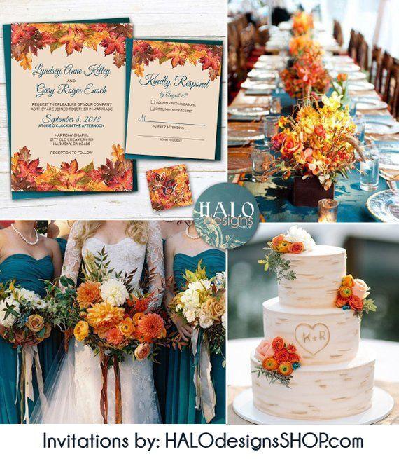 Rustic Fall Wedding invitation, Orange & Teal Wedding invitation, rustic invitations, Fall wedding invitations, fall leaves, teal