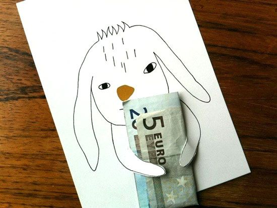 DIY Money Holder ~ cut around the paws with a craft knife, slide in folded money