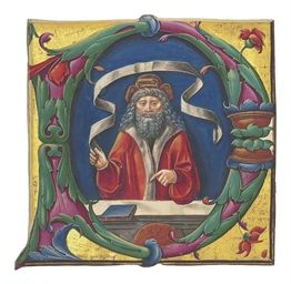 isaiah, historiated initial p on a cutting from a gradual, illuminated manuscript on vellum