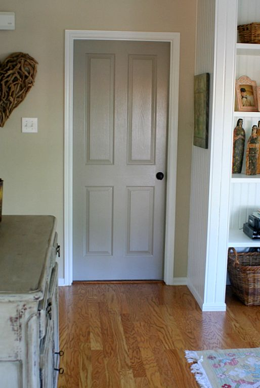 Paint all the interior doors this lighter calmer for Wood doors painted trim