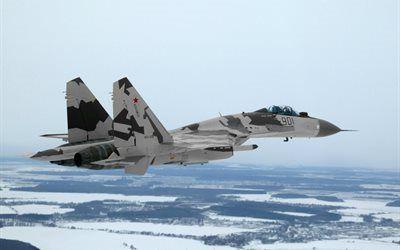 壁紙をダウンロードする スカイ, 戦闘機, sukhoi, su35, 軍用機