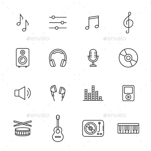 Music, audio and sound thin line icons Includes th…