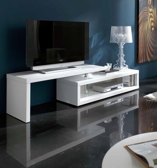 Mueble de Tv moderno fabricado en DM con acabado lacado blanco. Medidas: 200x44xH46