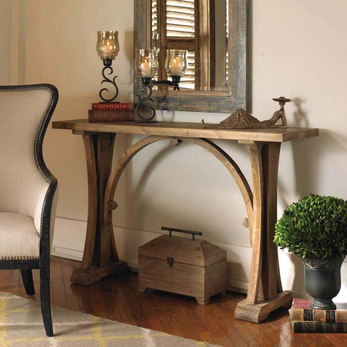 Spindle Distressed Console Table Western Sofa Tables   Made Of Gmelina  Solids With A Distressed Dark Walnut Colored Hand Waxed Finish. Solid Brass  U2026