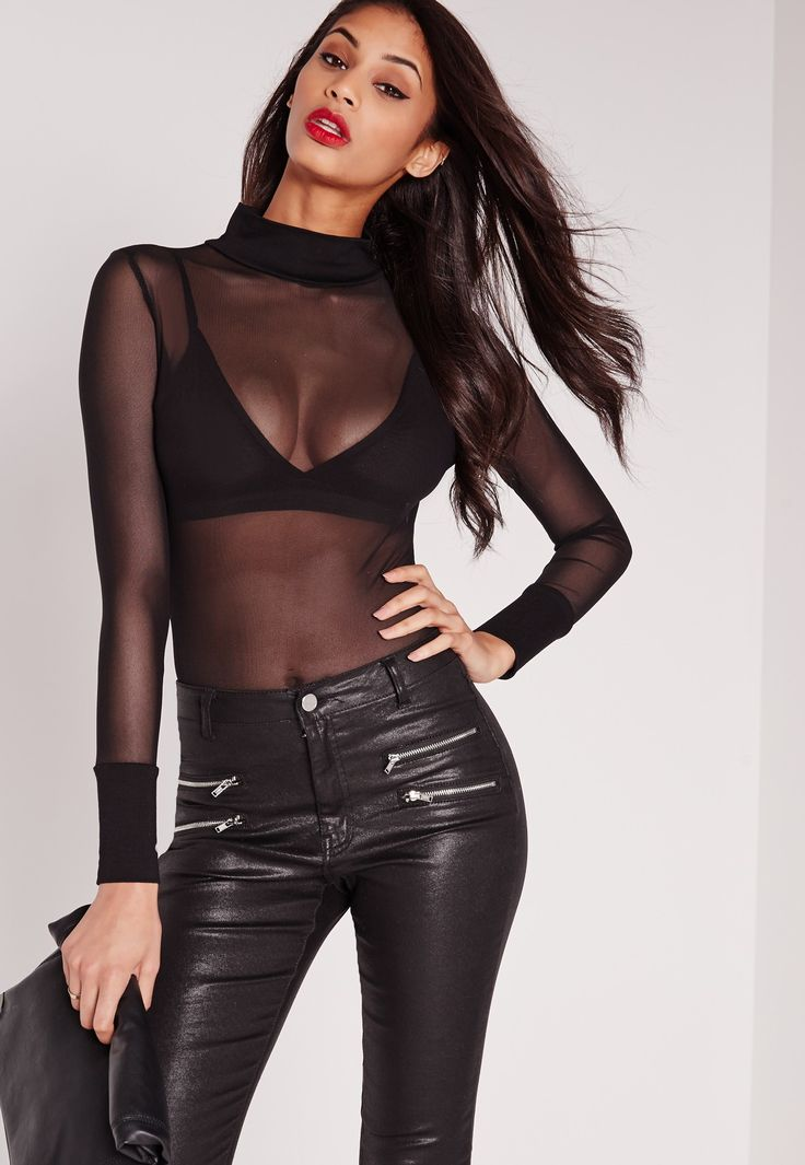 Mesh up your look for the new season in this sexy sheer piece. Featuring high neck detailing and long sleeves, this bodysuit is killer. Style it up with leather shorts and ankle boots.
