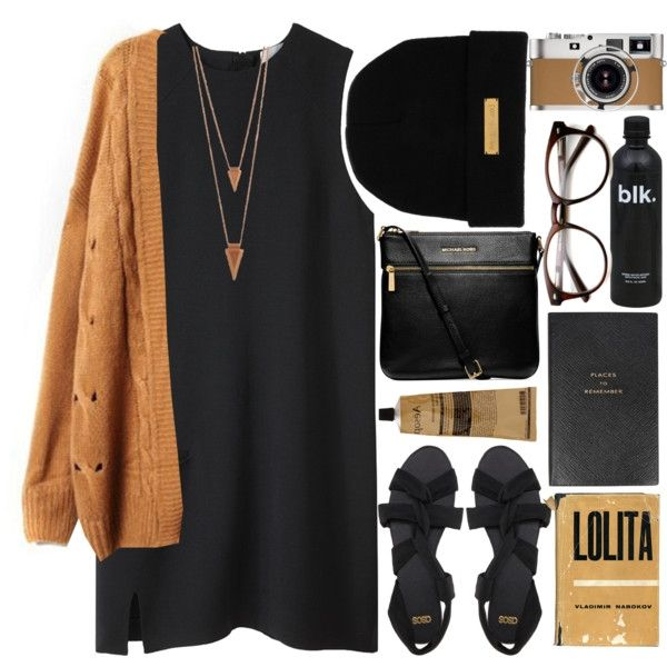 Mustard knit cardigan, black tank dress, black strappy sandals, black cross body bag, black beanie, sunglasses.